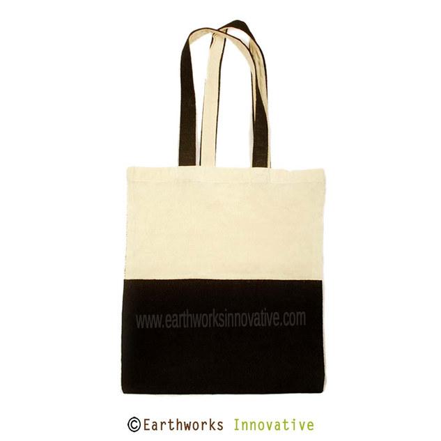 Earthworks Black Jute canvas tote bag -p