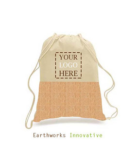 Earthworks Jute and canvas backpack