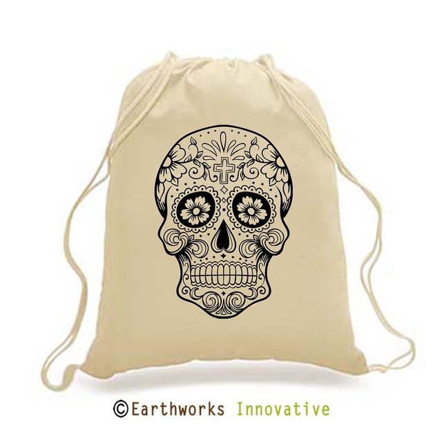 SKU: EWBP01/SKULL- Earthworks Drawstring Backpack with skull print