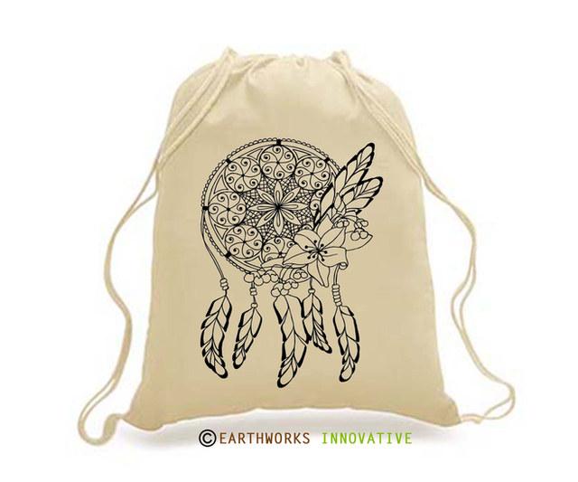 SKU: EWBP01/DC - Earthworks Drawstring Backpack with dreamcatcher print