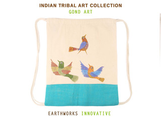 Earthworks Hand-painted Backpack - Gond art