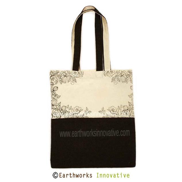 Earthworks Black Jute canvas tote bag -