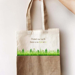 Colourful Jute & Canvas TOTES by EARTHWORKS
