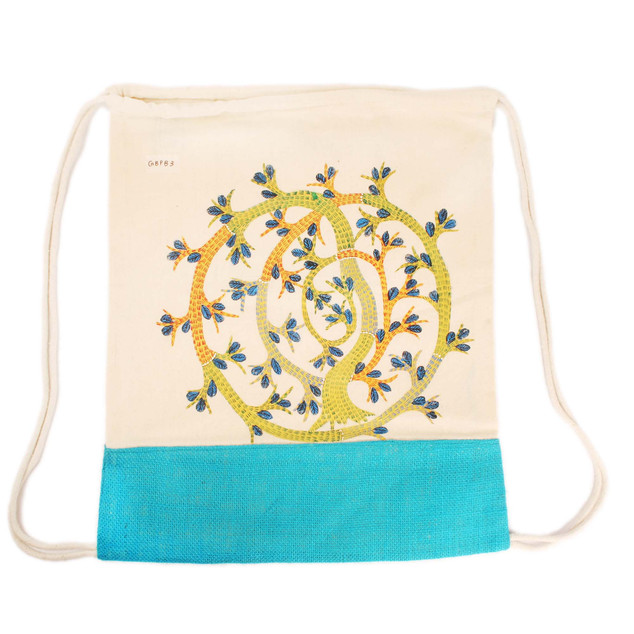 Earthworks Hand-painted Backpack - Gond art SKU: GBPB-3