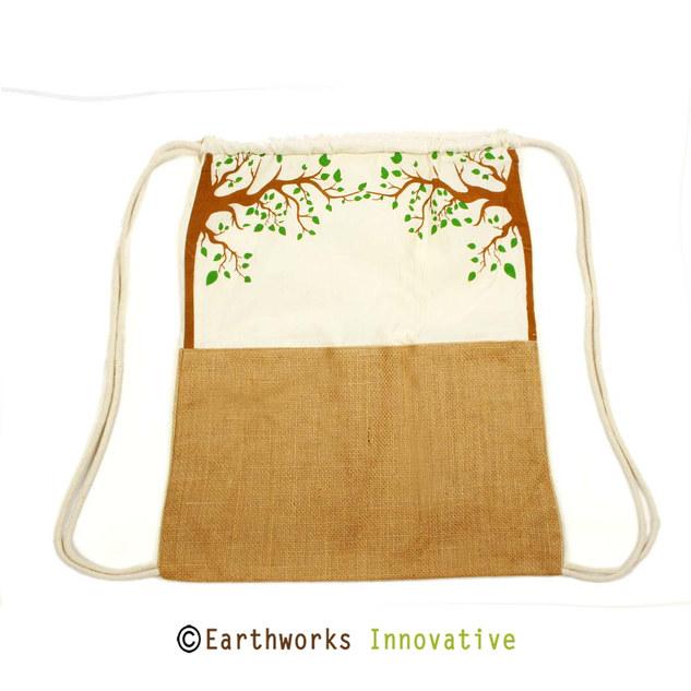 SKU: EWBP02/STD - Jute & canvas drawstring backpack