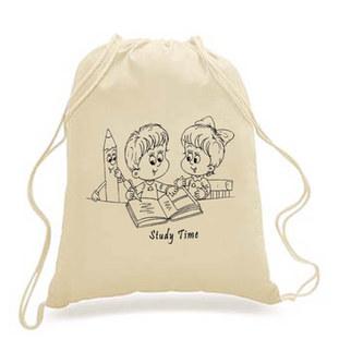 DIY-KIDS - Drawstring Backpack - study print
