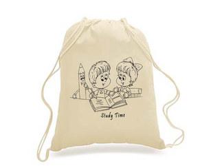 SKU: EWBP01/Study - Earthworks Drawstring Backpack with cartoon print