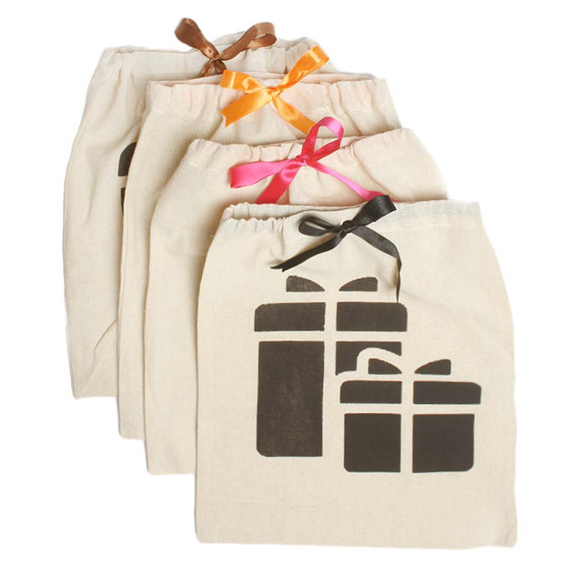 EARTHWORKS cotton gift pouches with multi-colour satin ribbon