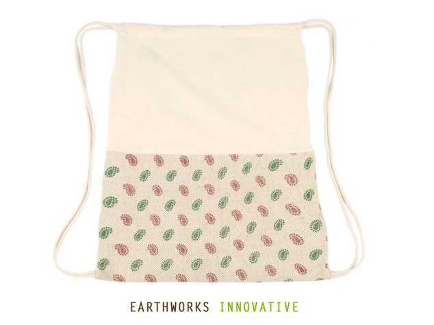 Earthworks SKU: BP03-PRINTED JUTE INDIAN - Earthworks Jute & Canvas Backpack