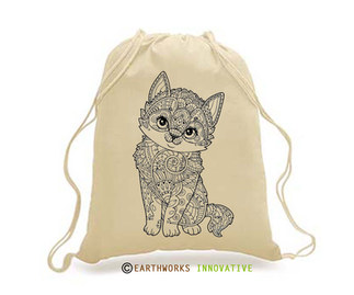 SKU: EWBP01/KIT - Earthworks Drawstring Backpack with kitty print