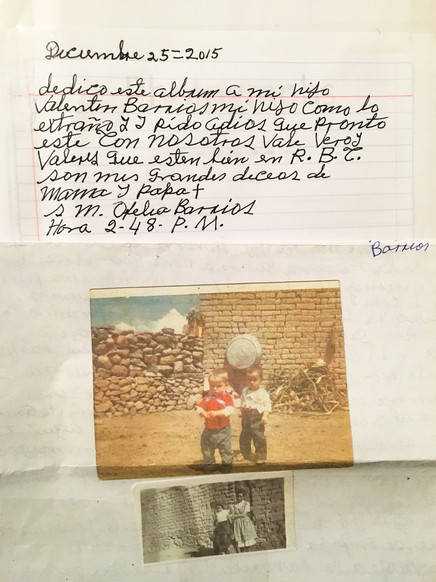 Valentín is Olivia's uncle and Ofelia and Cruz Barrios' only son. Just like his father, he was deported and now lives in Tijuana. His mother communicates with him through letters and often looks at his baby photographs.