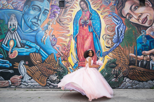 Olivia parades her quinceañera dress around the murals of East Los Angeles and El Pino.