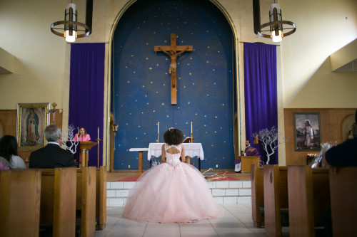 Quinceañera service at Lady of Guadalupe Church, where the Barrios family have celebrated weddings, baptisms, confirmations, quinceañeras and funeral services in their family for over two decades.