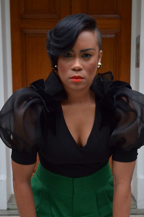 Puff Sleeve Top With Velvet Bows