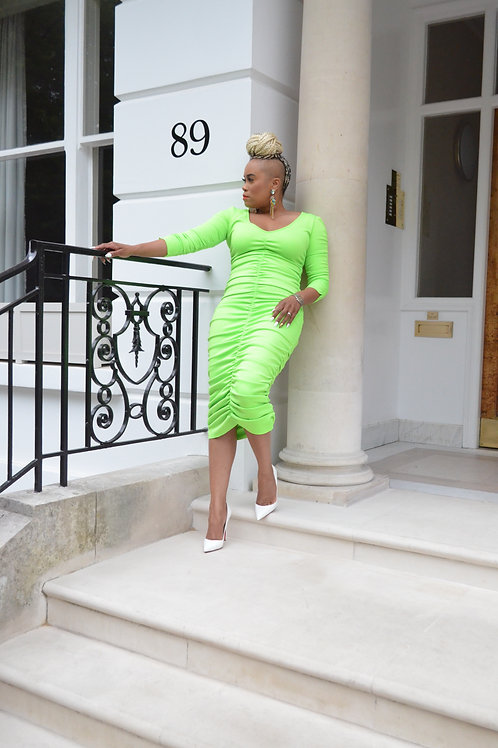 Neon Green Ruched Dress