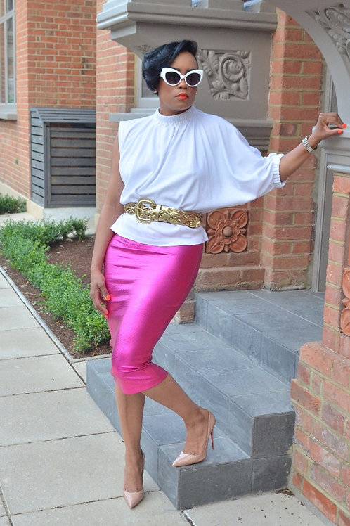 Metallic Fucshia Pink Midi Bodycon Skirt