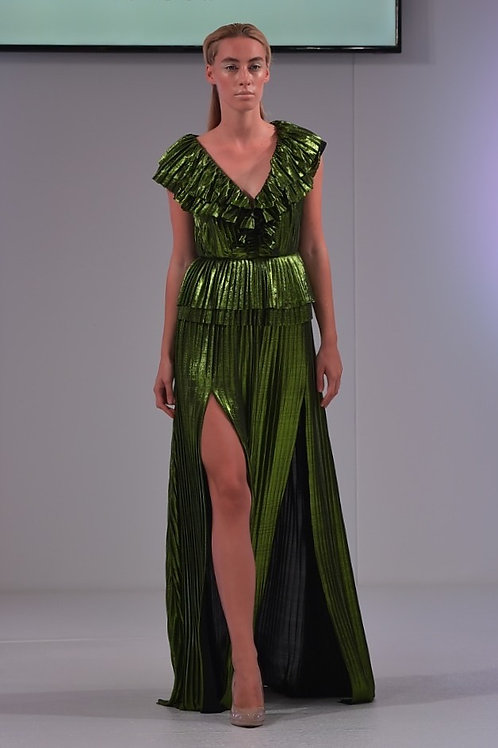 Metallic Plisse Maxi Dress
