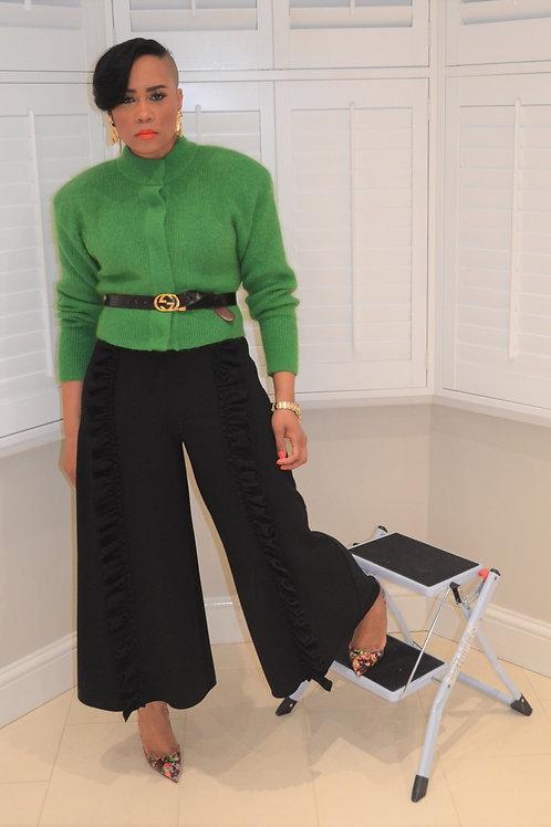 Wide Leg Frill Crop Trousers