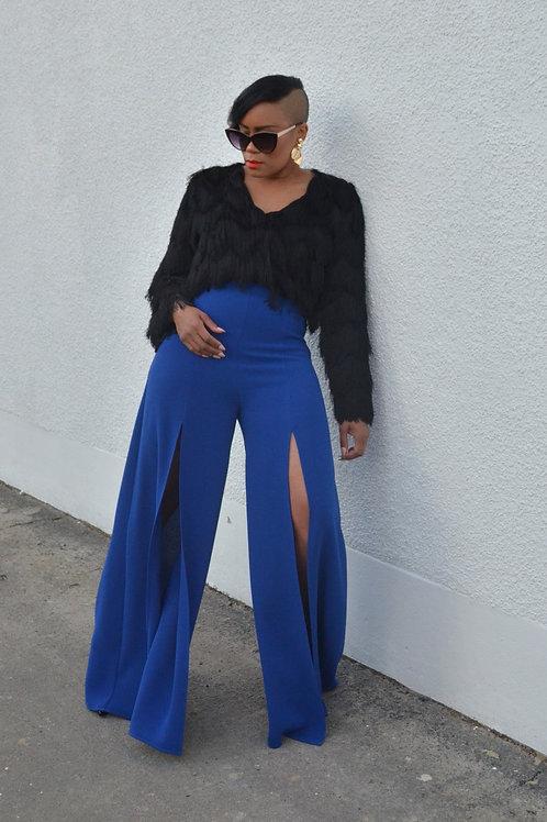 Cobalt Blue Wide Leg Trousers With Thigh High Splits