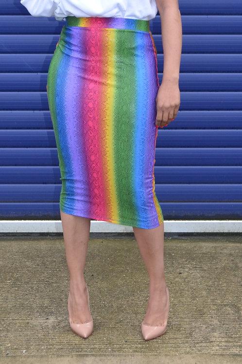 Rainbow Snakeskin Bodycon Skirt