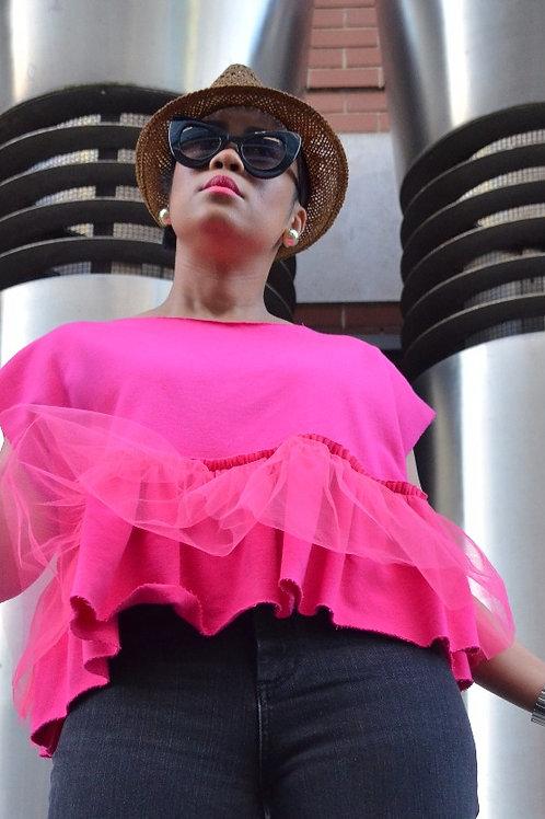 Fuchsia Pink Tulle Peplum Hem Top