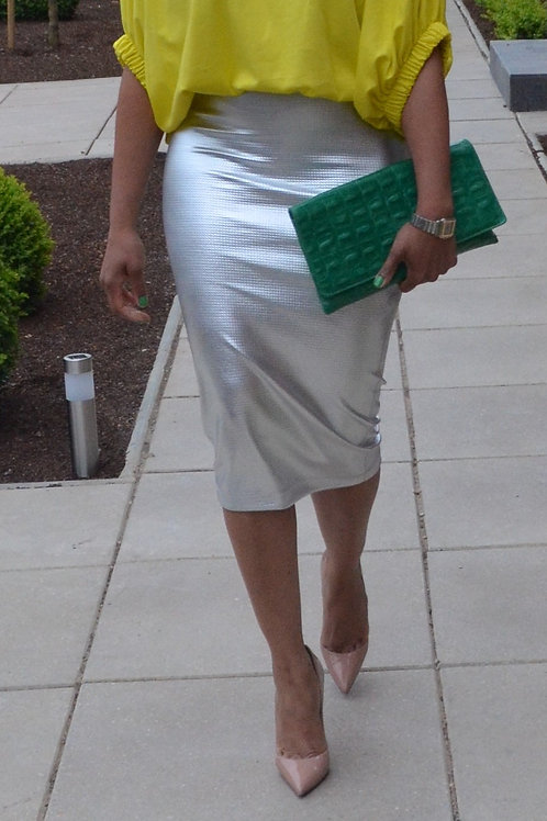 Metallic Silver Midi Bodycon Skirt