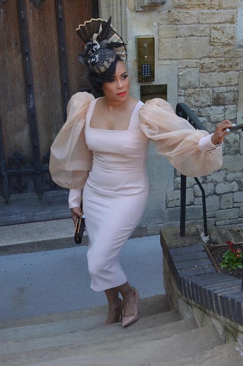 Royal Puff Sleeve Midi Dress