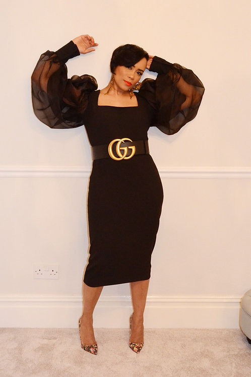Chic Puff Sleeve Midi Dress
