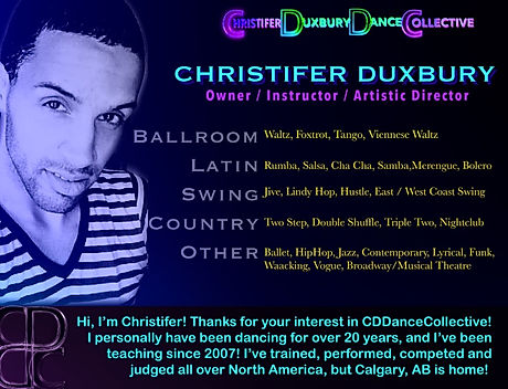 Christifer Duxbury, dance instructor and owner of Christifer Duxbury Dance Collective - Dance lessons in Calgary, Alberta