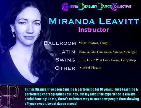 Miranda Leavitt - dance instructor at Christifer Duxbury Dance Collective - Dance lessons in Calgary, Alberta