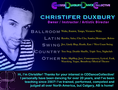 Christifer Duxbury, a llist of styles that Christifer dances, and a welcome mesage.