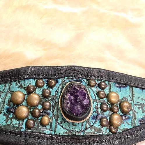 Leather Druzy Amethyst Cuff