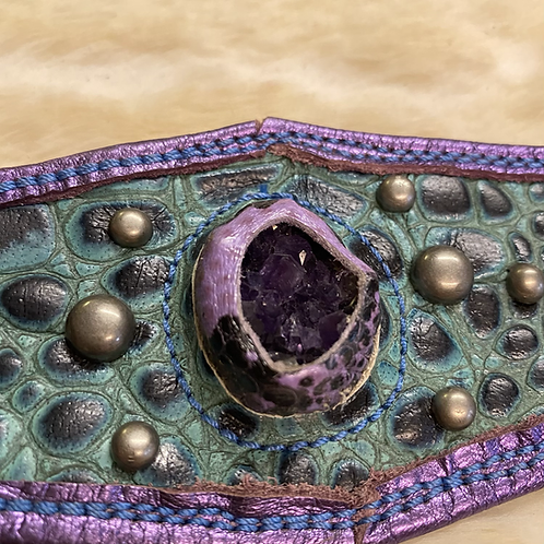 Leather druzy Amethyst Cuff