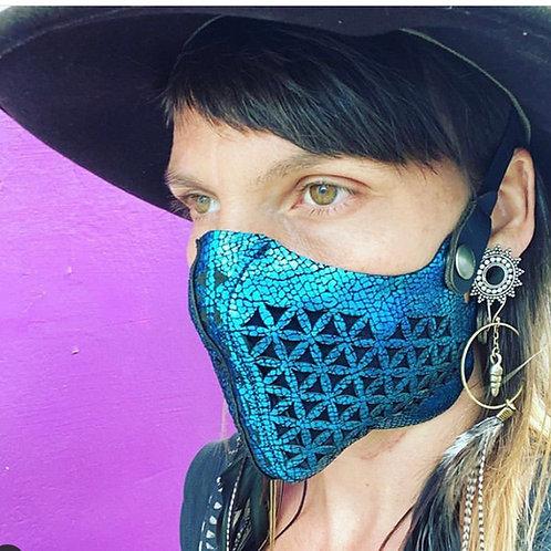 Metallic Blue Leather Face Mask