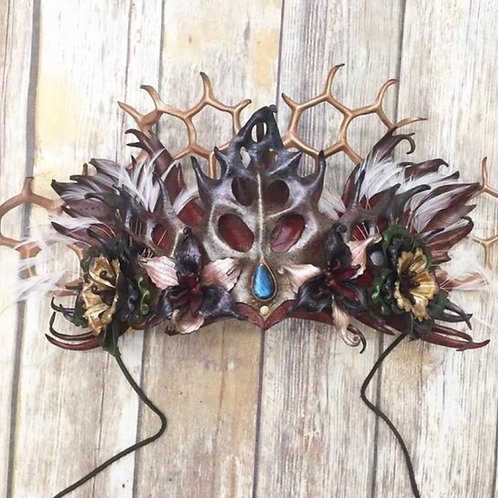 Sculpted leather woodland headdress