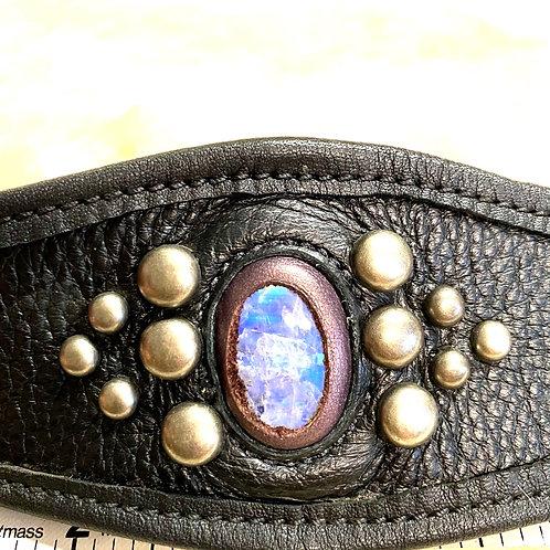Leather Moonstone Cuff