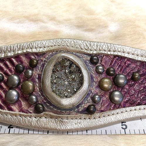 Leather Pyrite Cuff