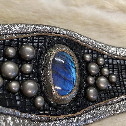 Leather Labradorite Cuff
