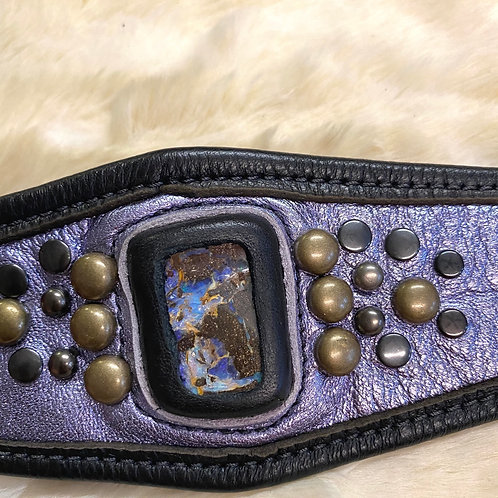 Leather Boulder Opal Cuff