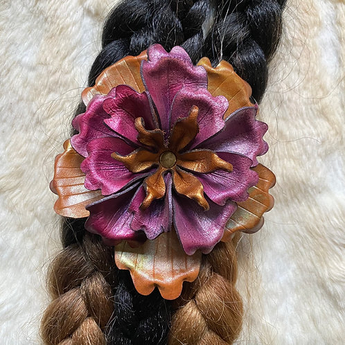Hand Sculpted Leather Hair Flower
