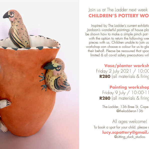 Pottery workshop for kids with Sitting Duck Studios  (R280)