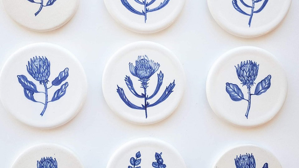 Blue and White Custom Painted Coasters