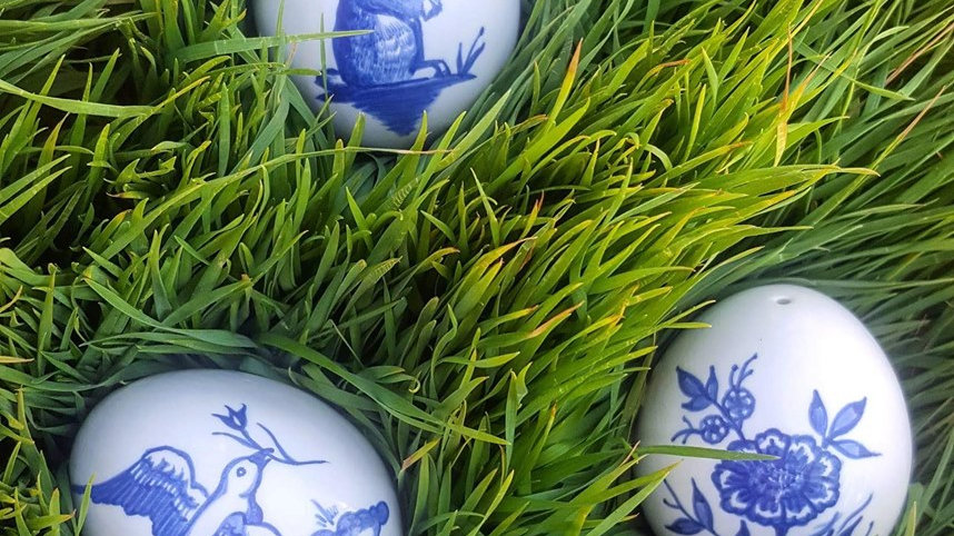 Blue and white Porcelian Easter Eggs
