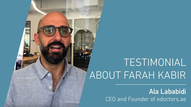 Ala Labidi's testimonial about Farah Kabir