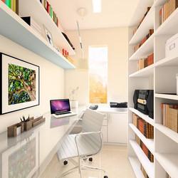 Escritório pequenino, mas muito organizado! Aproveite para projetar o seu espaço conosco