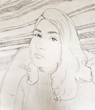 Contour Line Self-Portrait (Drawing I, 2018)