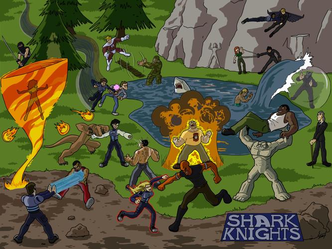 Shark Knights Battle Mural