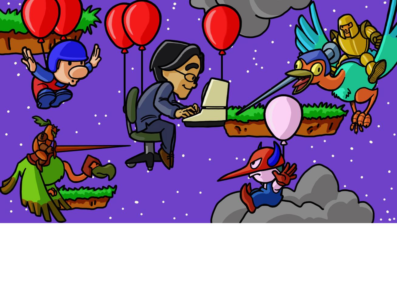 """Iwata's Balloon Fight (8.5"""" x 11"""")"""
