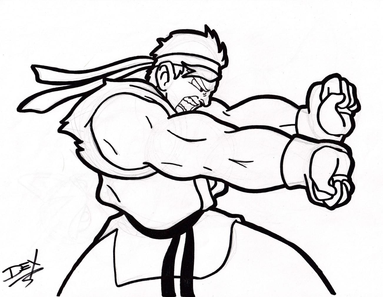 "Ryu (8.5"" x 11"", Graphite & Ink)"