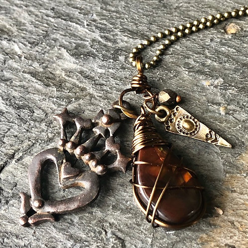Crowned Heart + Mexican Fire Opal + Necklace